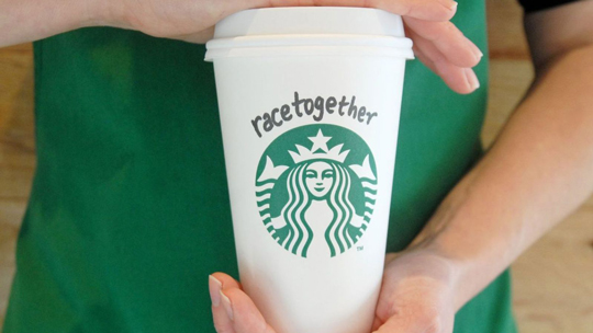 Starbuck Race Together campaign coffee cup